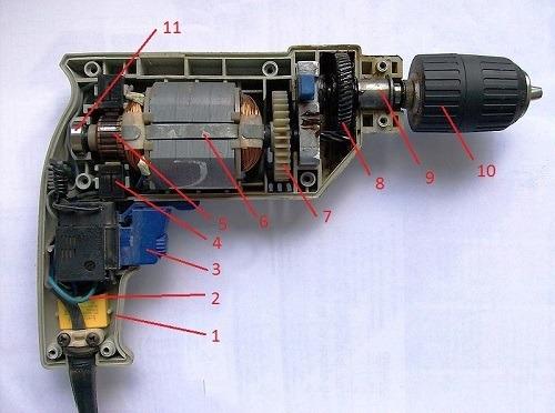 mặt cắt sơ đồ cấu tạo máy khoan cầm tay